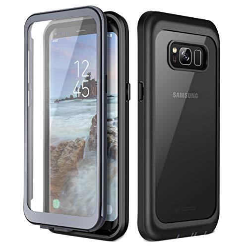 Prologfer Kompatibel mit Samsung S8 Hülle 360 Grad Handyhülle Frontabdeckung mit eingebautem Displayschutz Stoßfest Ganzkörper Transparent Kratzfest Schutzhülle Cover für Samsung Galaxy S8
