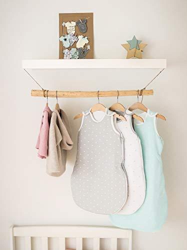 Ehrenkind® Babyschlafsack Rund | Bio-Baumwolle | Ganzjahres Schlafsack Baby Gr. 50/56 Farbe Mint mit weißen Sternen - 3