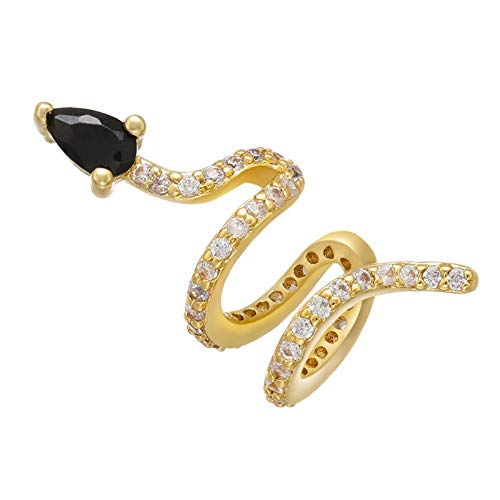 LUOSI ZHUKOU 1 piece 2020 CZ Crystal Snake Shape Ear Cuff Earring Fake piercing clips on earrings for women gold color ear Clips VE285 (Main Stone Color : 1 piece, Metal Color : Black)