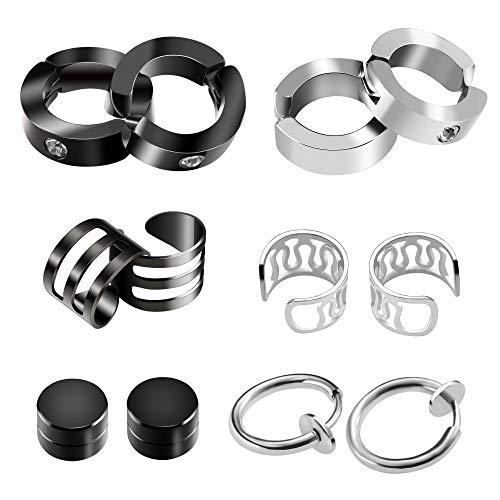 SOSMAR Unisex mujeres hombres pendientes de clip de piercing de acero inoxidable abrazaderas de oreja tachuelas - 6 pares / negro + plata