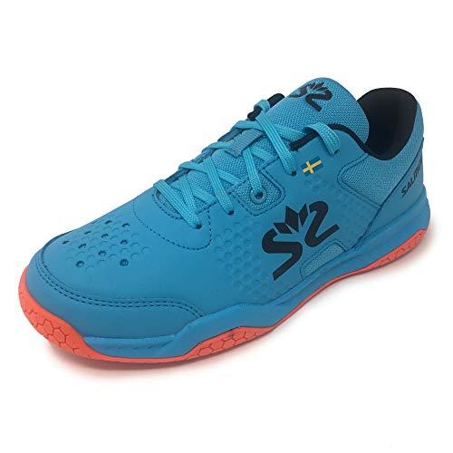 Salming Unisex-Youth Blue/Red Hawk Court Hallenschuh, Junior-Schuhe, Größe 39