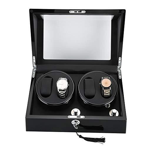 YUYTE Rotierende Uhrenboxen, automatisches Uhrenkastengehäuse, Lederfutter Automatisches Uhrenrollengehäuse Display Aufbewahrungsbox für 4 Armbanduhren Mechanische Uhr(001)