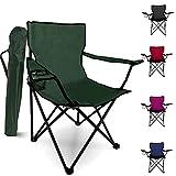 Silla plegable para acampar – Silla de jardín portátil al aire libre diseño ligero con portavasos – Ideal para el verano para ir a la playa, pesca, fiestas, barbacoas (verde, estilo 1)
