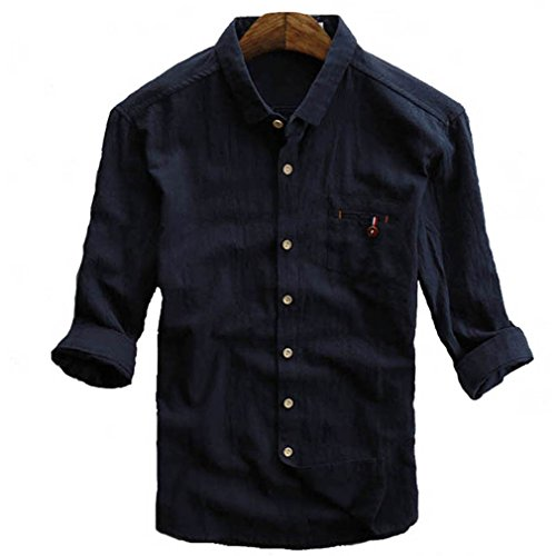 CIKRILAN Herren Leinen Umlegekragen Button Down Roll Up Sleeve Hemd Casual Freizeit Vintage Komfort Hemd Tops (M, Blau)