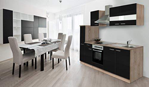 respekta inbouw keuken kitchenette 240 cm eiken ruw gezaagd zwart Soft Close Ceran