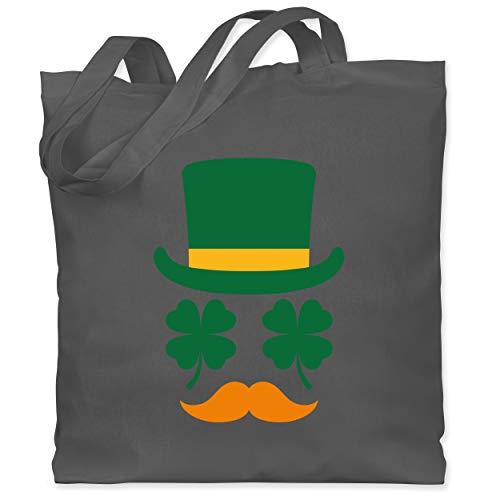 St. Patricks Day - Irisches Gesicht mit Kleeblättern - Unisize - Dunkelgrau - XT600_Jutebeutel_lang - WM101 - Stoffbeutel aus Baumwolle Jutebeutel lange Henkel
