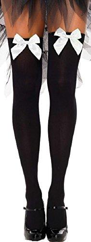 Leg Avenue Damen Halterlose Strümpfe Nylon 70 DEN Schwarz mit weißen Schleifen Einheitsgröße 36 bis 40