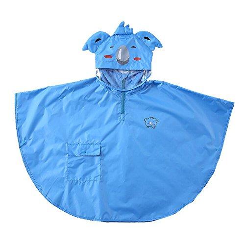 gagacity Wasserdicht Winddicht Poncho Cape Impermeable für Kinder Mädchen Regenjacke mit 3D Cartoon Tier Muster Blau Koala/M