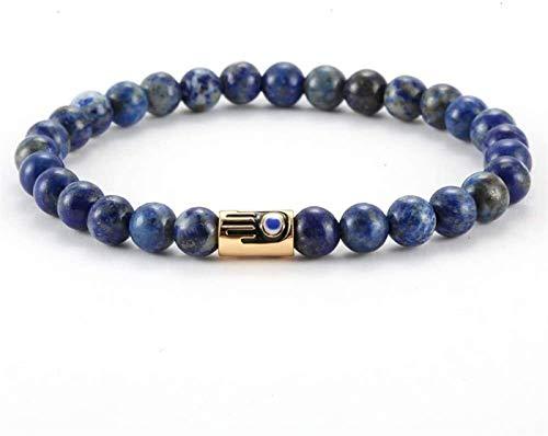 SUCICI Pulsera de Piedra Mujer, 7 Chakra Piedra Natural Bead Lapis Lazuli Pulsera Elástica Moda Mujeres Lucky Bangle Golden Hamsa Joyería para Pareja