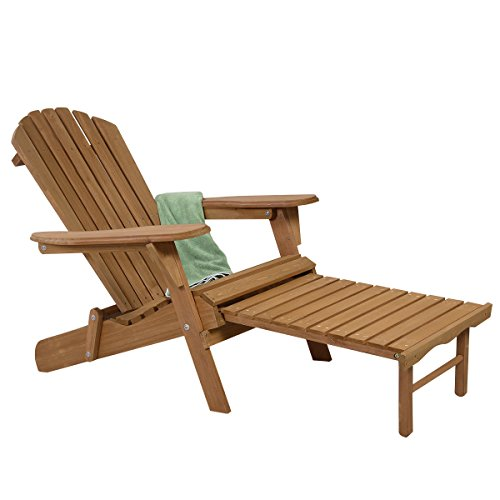 WShop Outdoor Adirondack Chair fir Wood Patio, Lawn & Garden Furniture Deck Foldable w Ottoman...