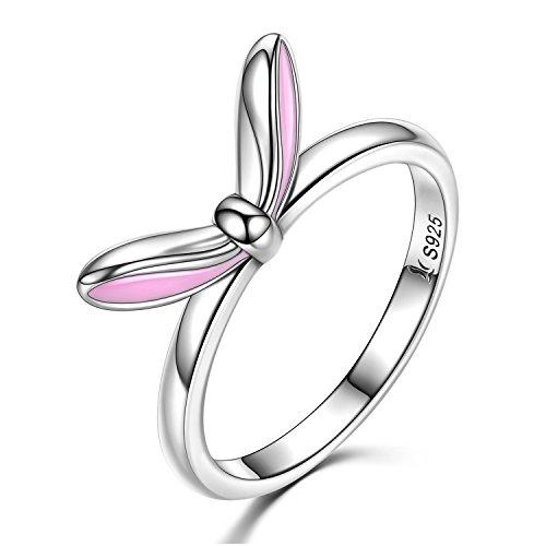 Anillos de plata de ley 925 con diseño de conejo y orejas de conejo, para mujeres y niñas, regalo del día de la madre, tamaño 6, 7, 8