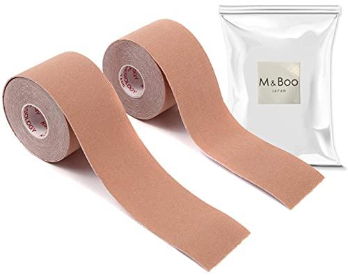 テーピングテープ キネシオテープ キネシオロジーテープ 2巻入 筋肉関節サポート 通気性伸縮性汗に強い 5cm x 5m (M&Boo) (ベージュ)