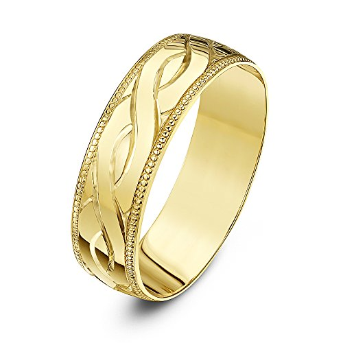 Theia Unisex Heavy Weight D Shape Celtic Design 6 mm 9 ct Yellow Gold Wedding Ring - Size Z