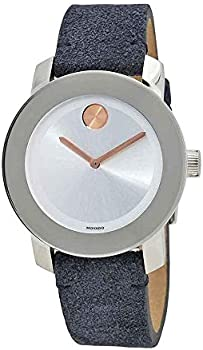 Movado Bold Silver Sunray Dial Blue Suede Ladies Watch