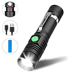 LED Flashlight, Winzwon USB Rechargeable Flashlights, LED Flashlight Extremely Bright, Waterproof Flashlight with 4 Modes for Children, Outdoor Camping Hiking (Including 18650 Battery)