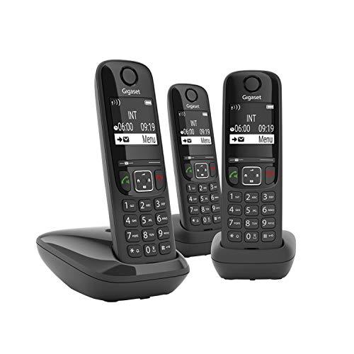 Gigaset AS690A Trio Festnetz-/Schnurlostelefon mit Anrufbeantworter (DECT-Telefon mit 3 Mobilteilen, Freisprechfunktion, großes Display, große Tasten) schwarz