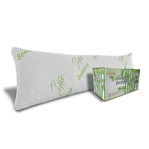 Bamboo Body Pillow for Adults - Shredded Memory Foam Long Cooling Pillows, Removable and Washable Bamboo Hypoallergenic Cover with Zipper