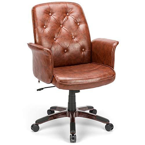 BlueOcean Furniture - Sedia da ufficio ergonomica in pelle, regolabile, per scrivania da computer, comodo supporto per la schiena e le braccia, girevole per camera da letto, casa