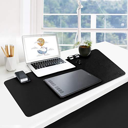GUBEE PU Cuero Almohadilla de Escritorio de Oficina Multifuncional,Impermeable Antideslizante Anti-Sucio Alfombrilla de ratón para Oficina, hogar y Viajes-Size 800x400x2mm (Negro)