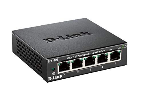D-Link DES-105 Switch 5 Ports Ethernet Metallique 10/100mbps - Idéal Partage de Connexion et Mise en Réseau Small/Home Office