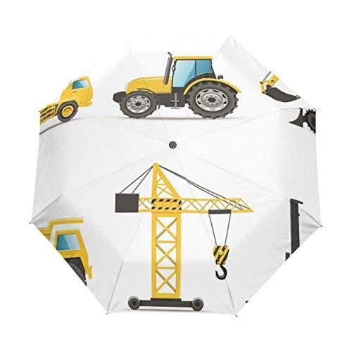 SUHETI Paraguas automático de Apertura/Cierre,Estilo de Dibujos Animados Maquinaria Pesada Camión Grúa...