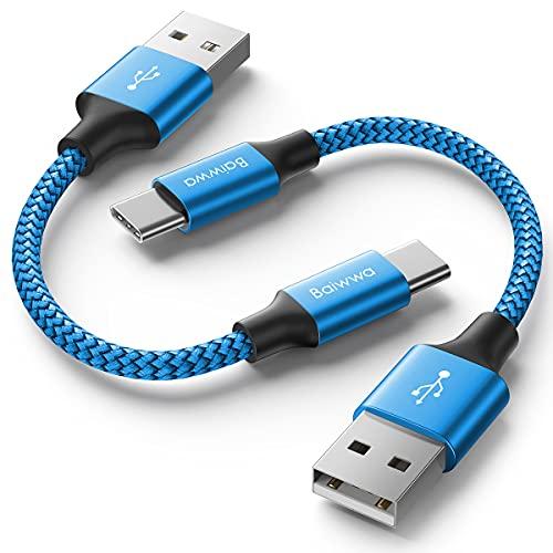 Baiwwa - Cable USB tipo C corto (0,3 m/30 cm, juego de 2)