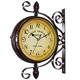 Mentin - Reloj de jardín de doble cara, estación de...