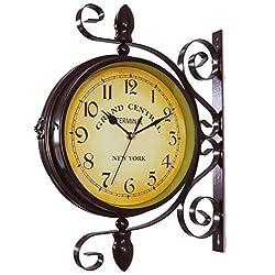 Kaqiqi Wall Clock New European Style Vintage Clock Innovative Fashionable Double Sided Wall Clock