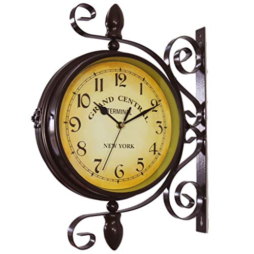 Mentin - Reloj de pared con estación de jardín de doble ca