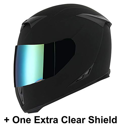 Motorcycle Full Face Skull King Matt Black Helmet + One Extra Clear Shield
