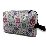 DJNGN Bolsas de maquillaje para mujeres, bolsa de maquillaje de viaje, pequeña bolsa de cosméticos mexicano diferente México latino cráneo de azúcar flor rama figuras Orkmulti