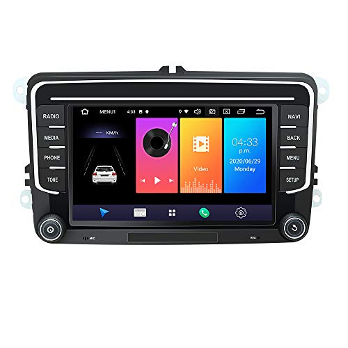 EUNAVI Android 9 Autoradio für VW Tiguan Golf Touran Skoda Kodiaq Octavia Superb, 2 Din Radio Navigationssystem: Bluetooth WiFi DSP, 7 Zoll HD Touchscreen 2G+32G USB sd GPS Free Camera