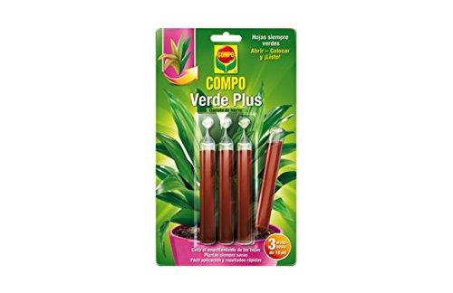 COMPO Verde Plus, Mezcla de nutrientes para plantas más verdes, 3 monodosis de 10 ml
