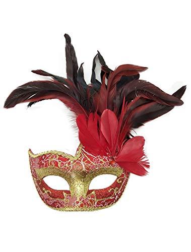 Flywife Feder Maskerade Masken Halloween Mardi Gras Karneval Maske Kostüme Venezianisch Party Masken (Rot)