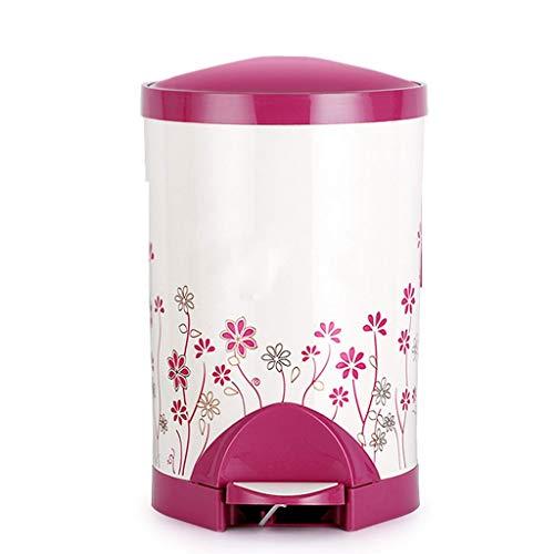 liushop Bote de Basura Pedales creativos Bote de Basura Salón Dormitorio Baño Cubierto de plástico Bote de Basura Dos tamaños Papeleras (Color : Pink, Size : L)