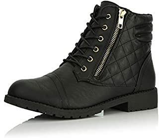 DailyShoes Women's Military Lace Up Buckle Combat Boots...