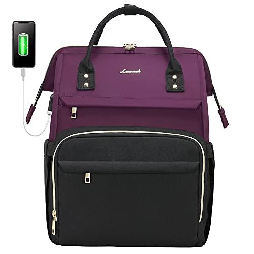Lovevook Mochila para mujer con compartimento para portátil de 15,6 pulgadas, impermeable, mochila escolar para niña con puerto de carga USB, color morado oscuro y negro
