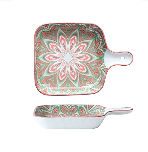 Vajilla Sartén para hornear Plato de comida occidental Plato de cerámica Sartén para hornear de cerámica Sartén para hornear de una sola manija de 9 pulgadas Flores rojas y verdes