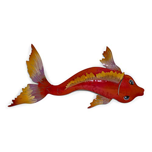 Tumia LAC Koi Carp in bright colours - Recycled metal wall hanging decoration - 36cm - Handmade - Orange