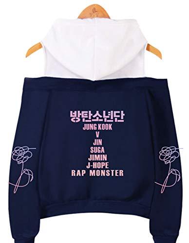 SIMYJOY Mujeres Korea Pop Fans Sudadera con Capucha sin Hombro Miembros de Korea Pop Jumper Girls Off Hombro KPOP Street Fashion Top Bonito Regalo para K-Pop Blue XS