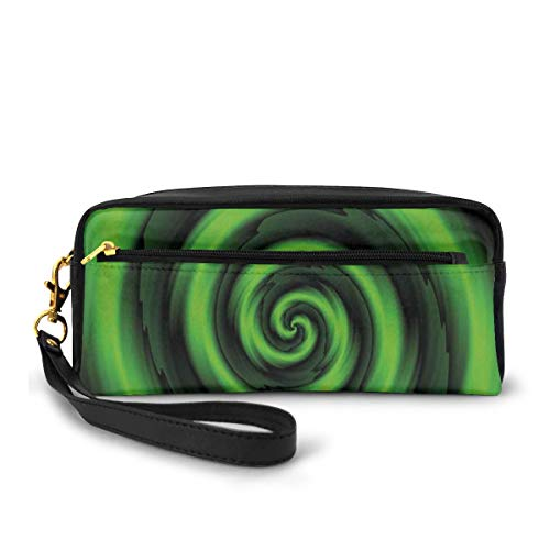 Pencil Case Pen Bag Pouch Stationary,Digitally Generated Swirling Decreasing Figure with Vibrating Lights Art Print,Small Makeup Bag Coin Purse