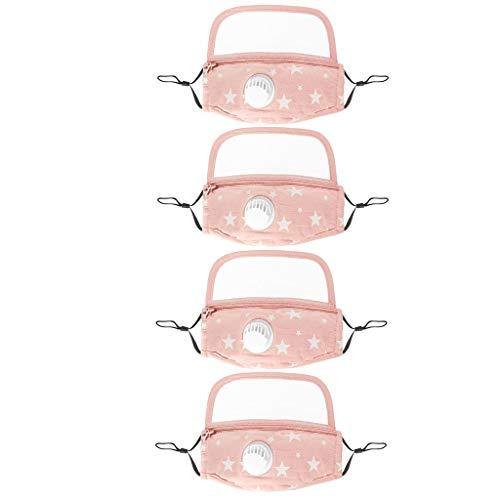 Tefamore Face Shield Kind mit Atemventil Schutzmaks und Augenschutz integriert Atmungsaktiv und Bequem Schützt Vor Staub, Autoabgasen, Pollen Usw.(Rosa B,4 PCS)