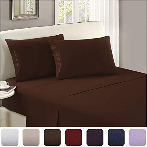 Mellanni Luxury Flat Sheet - Brushed Microfiber 1800 Bedding Top Sheet - Wrinkle, Fade, Stain Resistant - Ultra Soft - Hypoallergenic - 1 Flat Sheet Only (Twin, Brown)