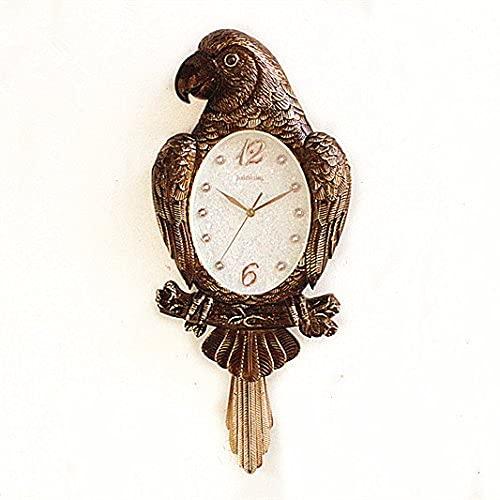 WWZZ Relojes De Pared De para Sala De Estar, Cocina, Dormitorio, Oficina, Salón, Vintage, País, Retro, Relojes De Colgantes Decorativos Parrot Mute Minimalista Cuarzo Bird Swing, 73X32Cm