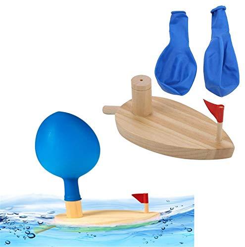 Elnro Barco de Madera impulsado por Globos, Barco de Madera de Juguete Flotante para niños pequeños, Barco de Madera para baño, Barcos de Juguete clásicos Vintage para Jugar en el Agua, para niños