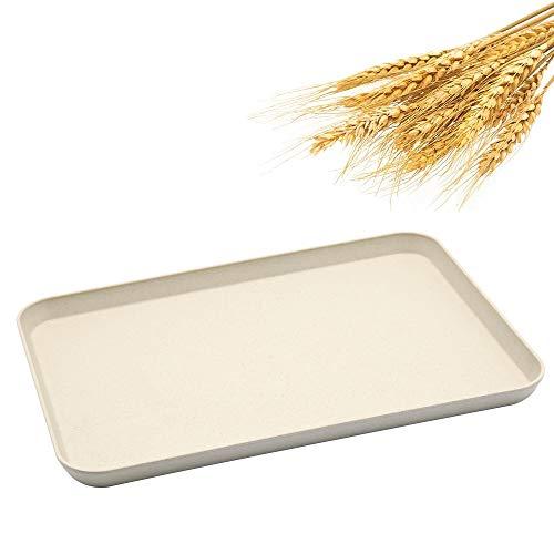 Dinner-Tablett, unzerbrechlich, dekoratives Serviertablett, Couchtisch, Weizenstroh-Tablett, Teeteller für Couch, Party, Essen, Picknick, Snack, Vorspeisen (Beige)