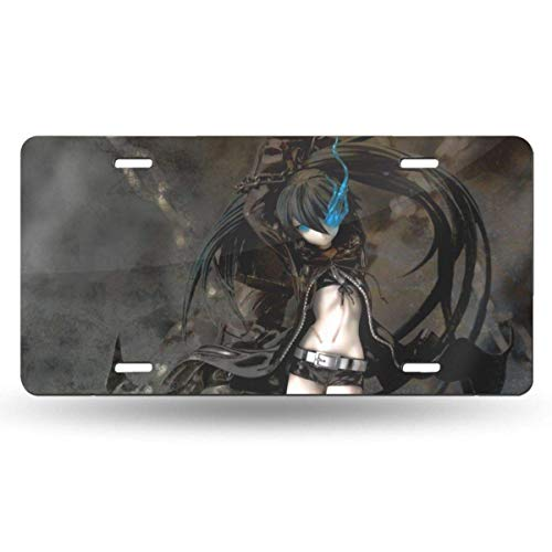 TUCBOA License Plate For Car,Black Rock Shooter-Kuroi Mato License Plate Cover,Charming License Plate Tags, 15X30Cm
