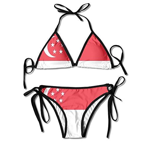 Bikini Singapur Flagge Pool Sommer 2 Stück Hawaii Cosplay Sexy Bikini Set Sexy Gemütliche Schöne Geburtstagsgeschenk Unterwäsche Langlebige Badebekleidung Strand Badeanzug Für Fra