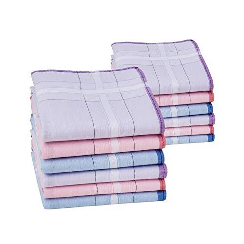 HOULIFE Damen Taschentücher aus Reiner Gekämmte Baumwolle Stofftaschentücher 3 Farben für Alltagsgebrauch 6/12 Stücke 28x28cm Weihnachtsgeschenke