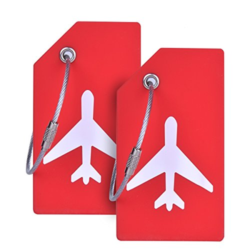 Silicone Luggage Tag with Name ID Card Perfect to Quickly Spot Luggage Suitcase by CPACC (Red 2 Pack Tags)